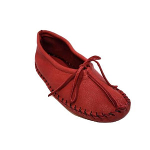 Ballet Style Deerskin Ladies Slippers - Red