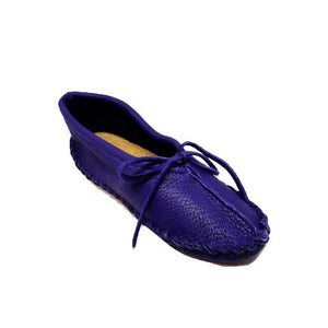 Ballet Style Deerskin Ladies Slippers - Purple