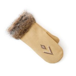 Fur Trim Mitt - Tan