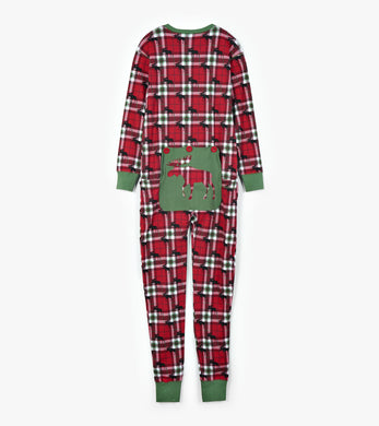 Holiday Moose on Plaid Union Suit - All Sizes