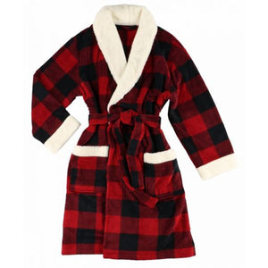 Red & Black Plaid Robe