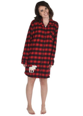 Flannel Plaid Button Down Night Shirt