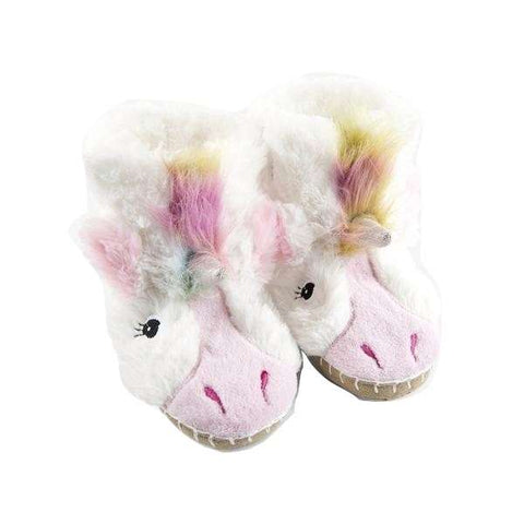 Unicorn Kids Fuzzy Slouch Slippers