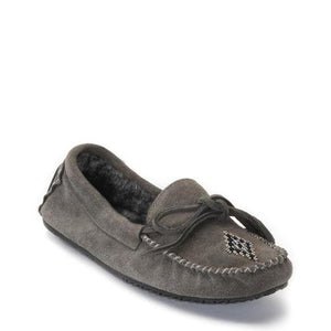Canoe Suede Lined Moccasin - Charcoal