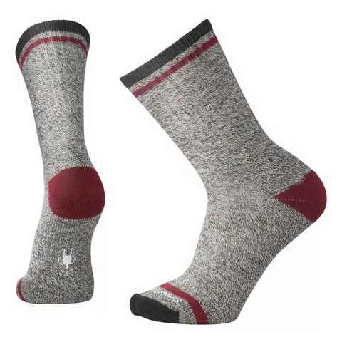 Men's Larimer Crew Socks - Charcoal Heather/Tibetan Red Heather