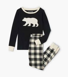 Cream Plaid Kids Bear Pajama Set