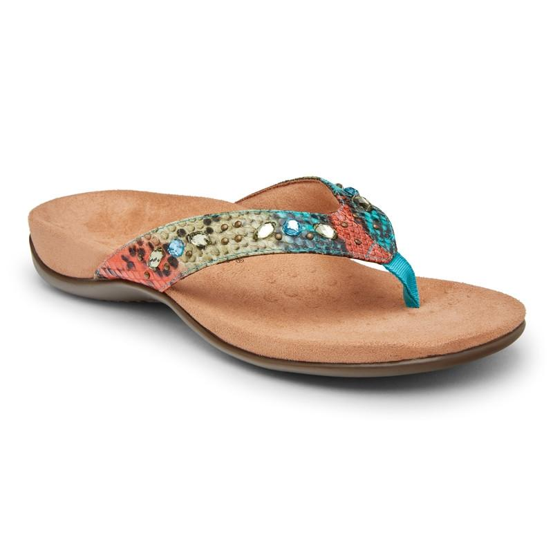 Lucia Toe Post Sandal - Blue Teal Snake