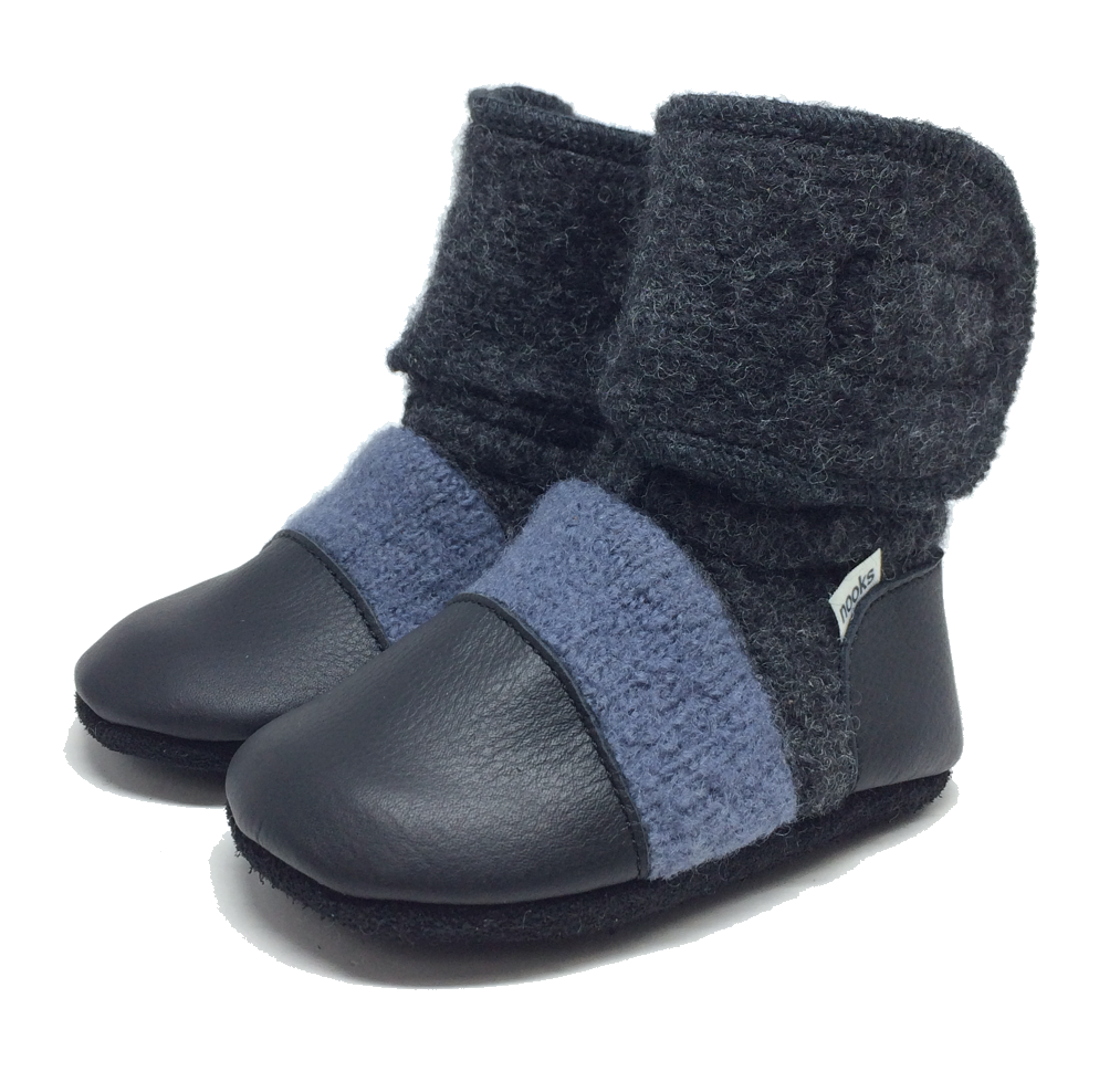 Children's Wool Booties - Steel Blue