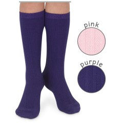 Cotton rich textured knee high-Pink