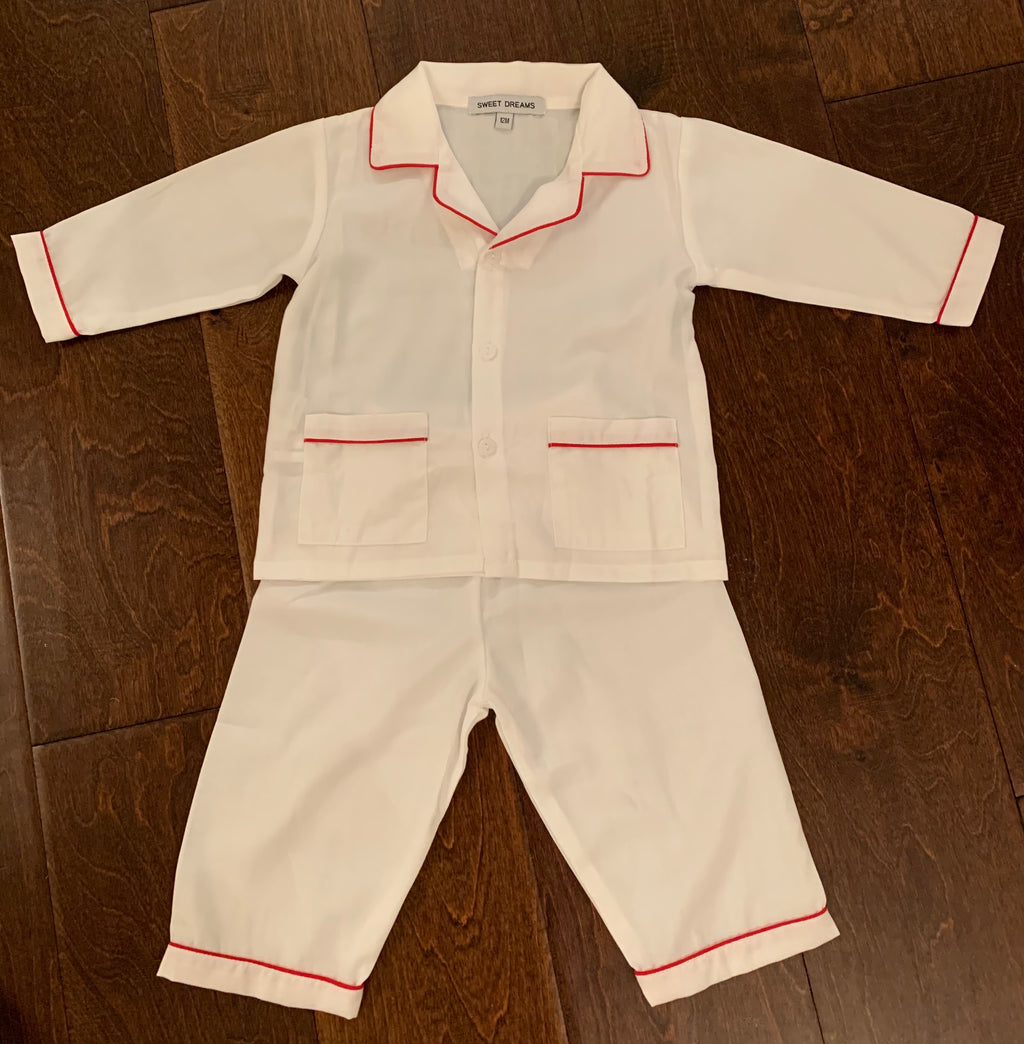 Boy's White Loungewear with Red Piping