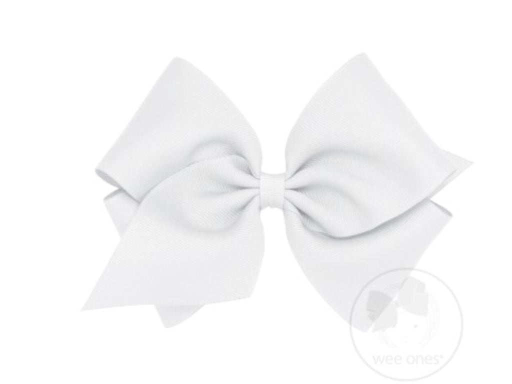 Classic King Grosgrain Bow-White