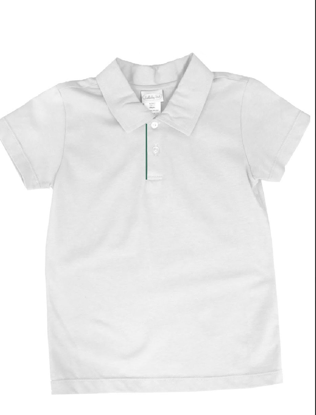Parker Polo-White Pique with Green Placket