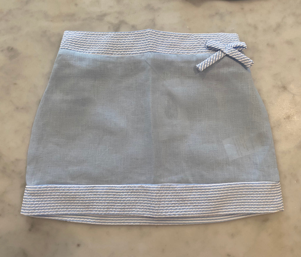 Eloise Linen Skirt-Blue with Blue Stripes