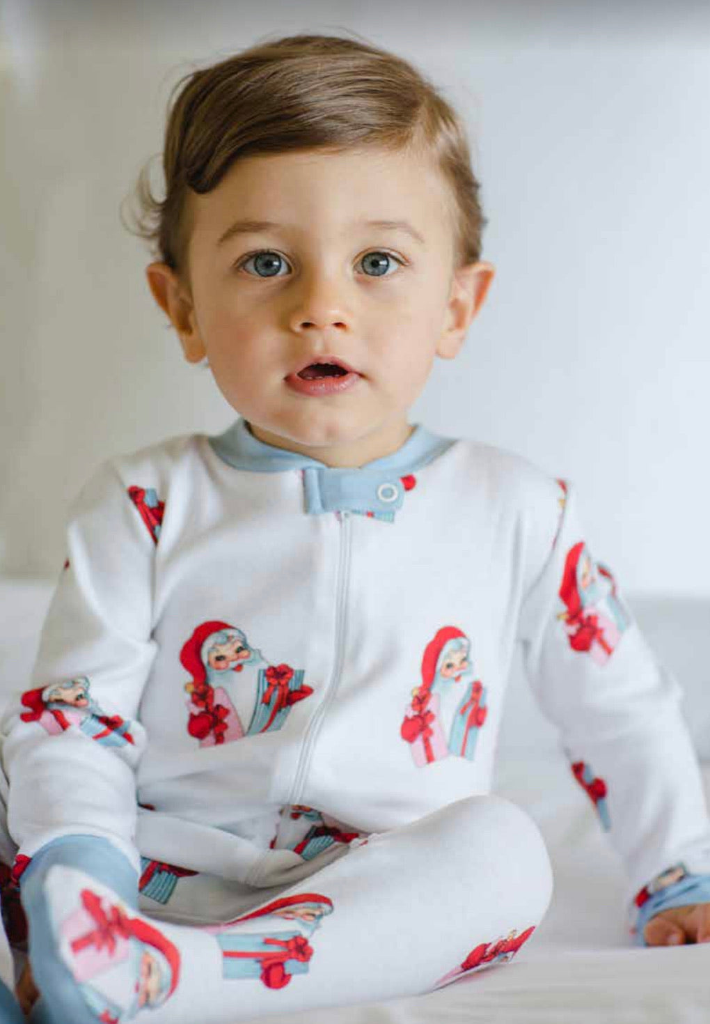 Santa's Gifts Baby Boy Zippered Pajamas(Footed until 12m)