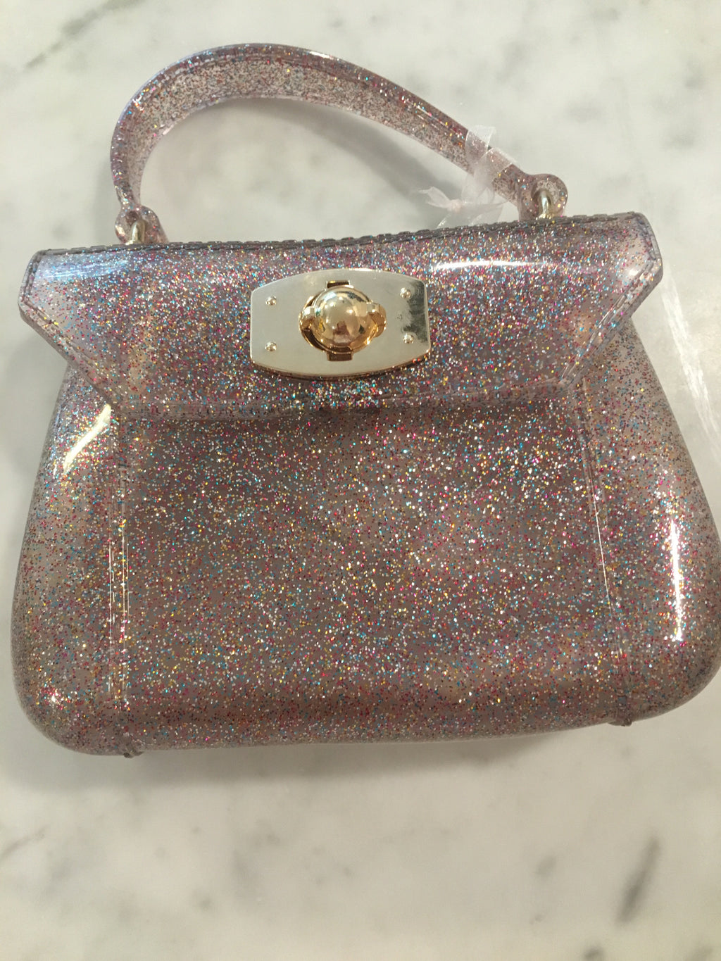Rainbow Glitter Jelly Purse with Globe Closure