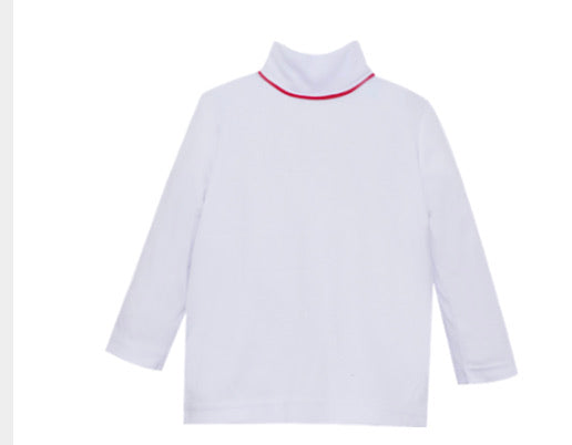 Tiny Tot Turtleneck-White with Red
