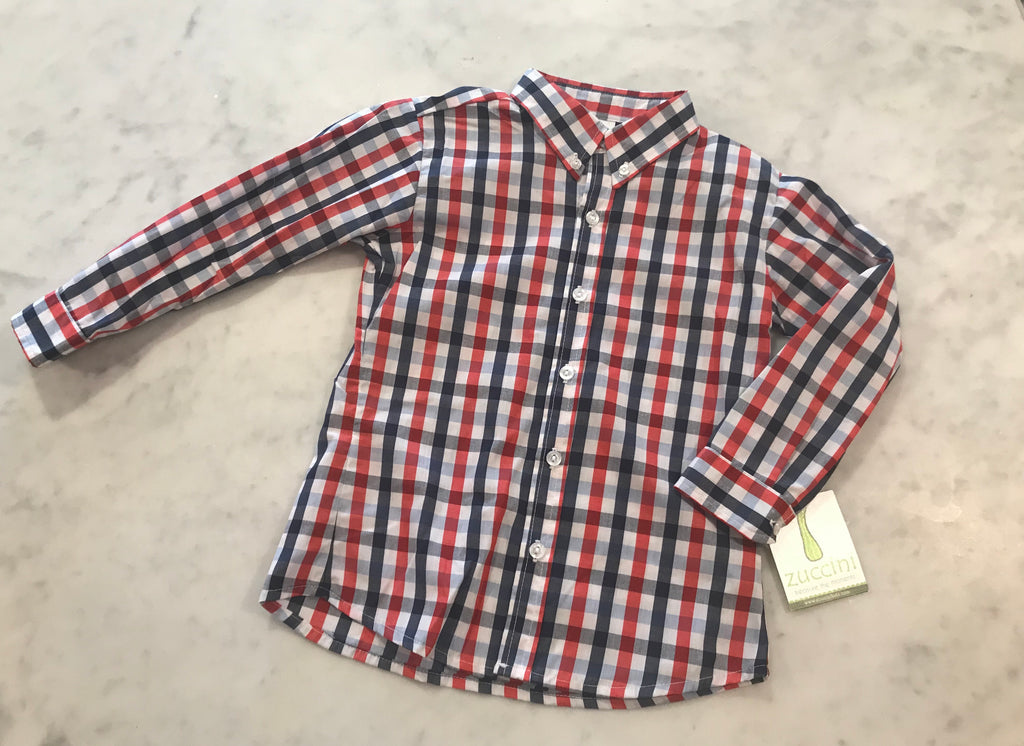 Dress shirt-Red and Navy Plaid