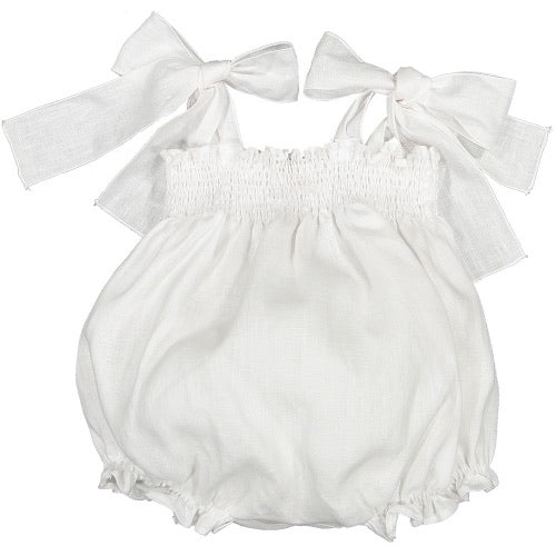 Jasmin White Linen Bow Bubble