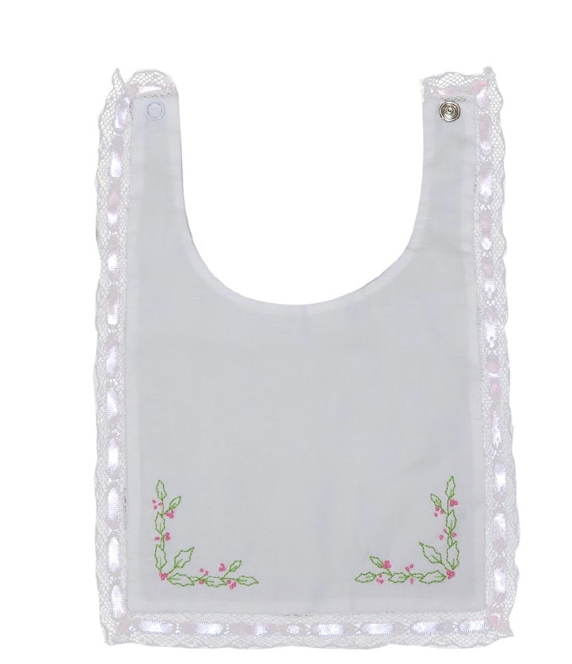 Heirloom Bib-Pink with Lace Trim and Holly Embroidery