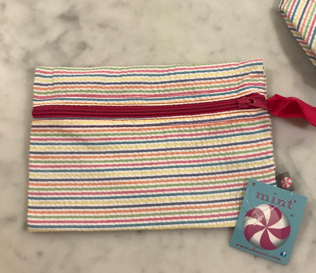 Pencil Pouch/Cosmo Bag-Rainbow Seersucker