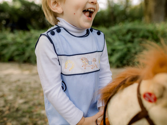 Tiny Tot Turtleneck-White with navy