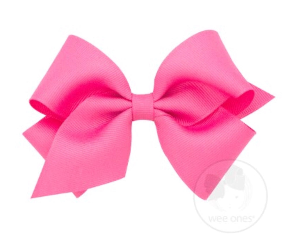 Classic Mini King Grosgrain Bow-Hot Pink
