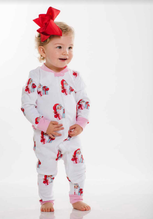 Santa's Gifts Baby Girl Zippered Pajamas(Footed until 12m)