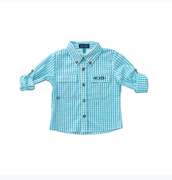 Windowpane Vented Back Fishing Shirt-Aquarius