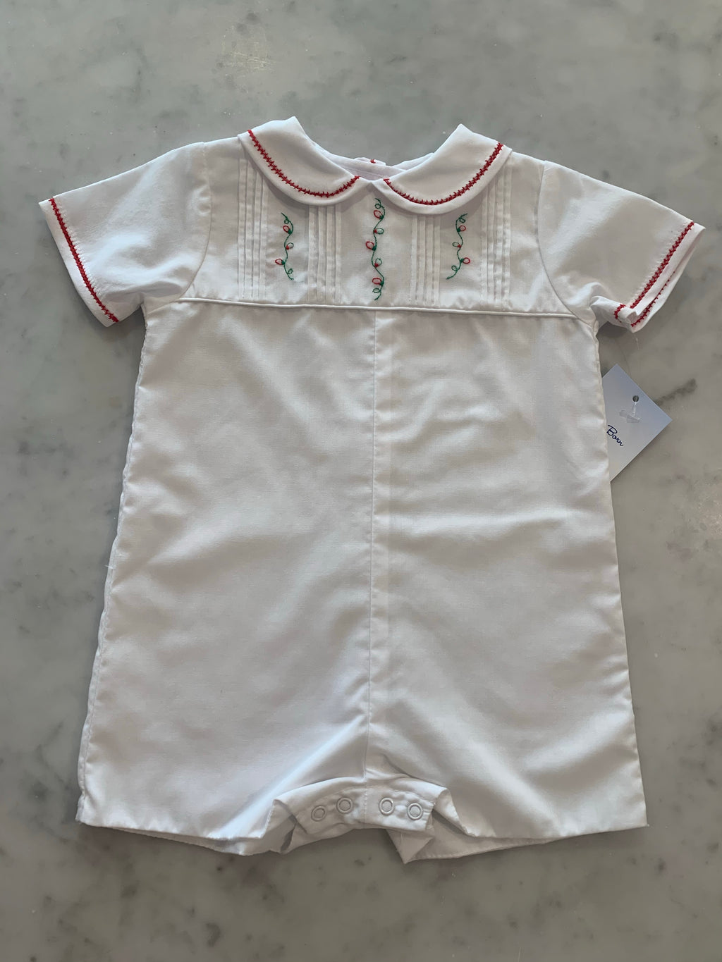 White Boy's Romper With Holiday Embroidery