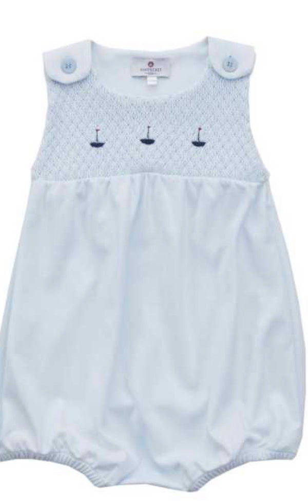 Smocked Pima Sailboat Bubble-Blue