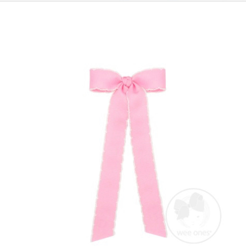 Medium MoonStitch Streamer Bow-Light Pink with White