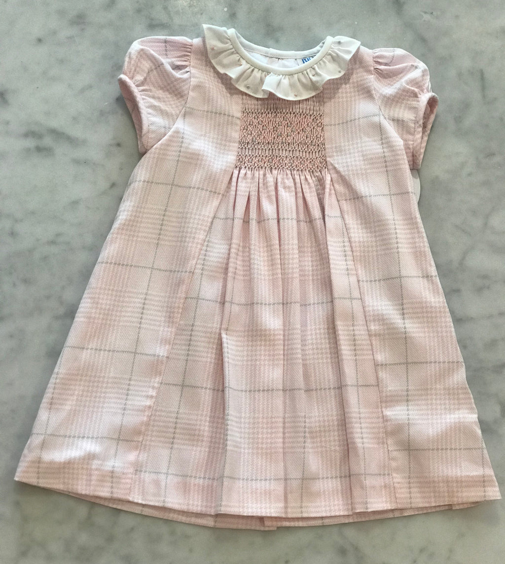 Light Pink Smocked Plaid Dress