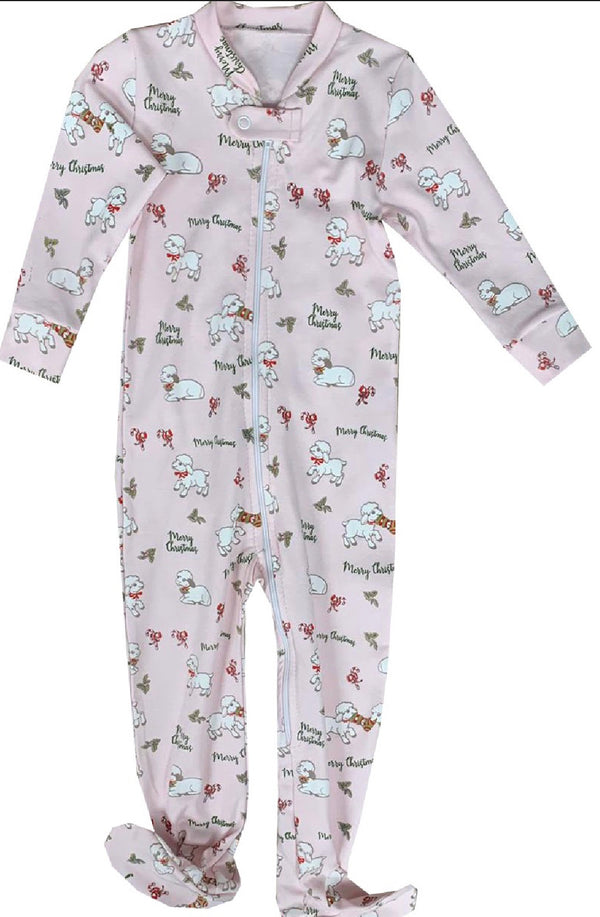 Sweet Dreams Christmas Lambs Footie Pajamas-Pink