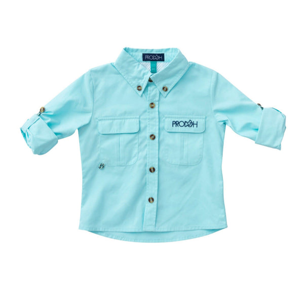 Solid Vented Back Fishing Shirt-Aqua