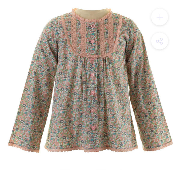 Floral Trim Lace Blouse