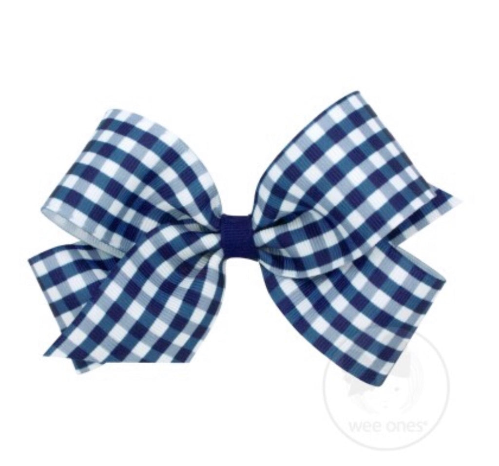 Navy Gingham Bow(Mini and Medium)