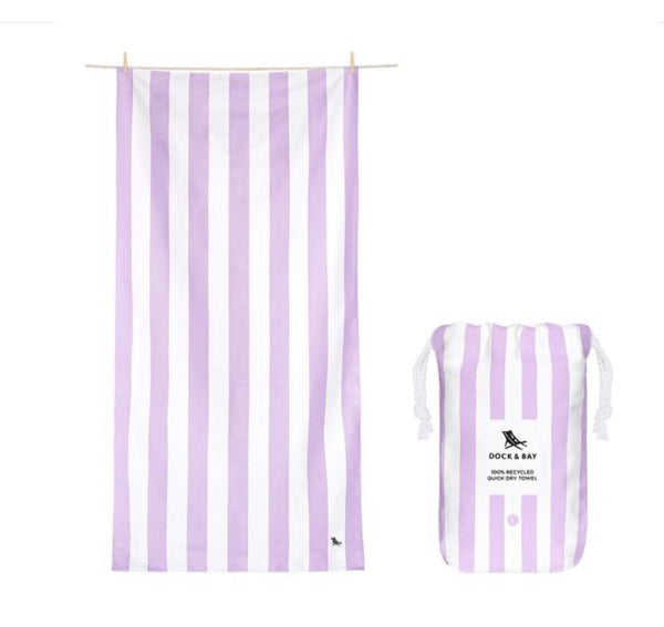 "Quick Dry Towel-Large(63x35"")-Striped Lombac Lilac"