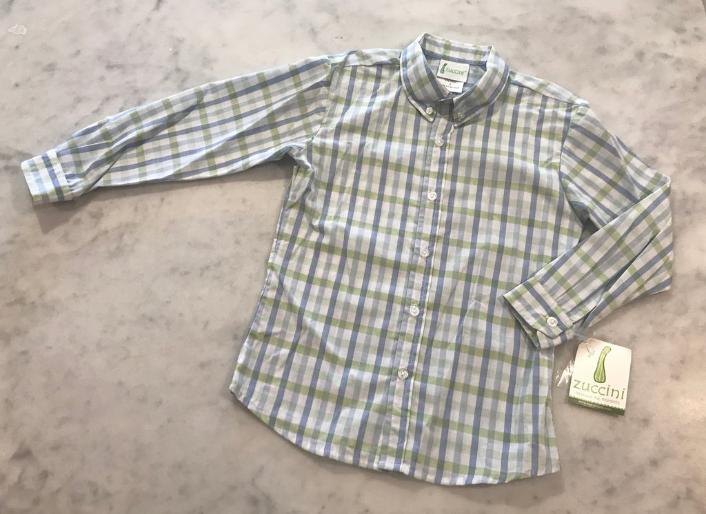 Dress shirt-Light Blue and Green Plaid
