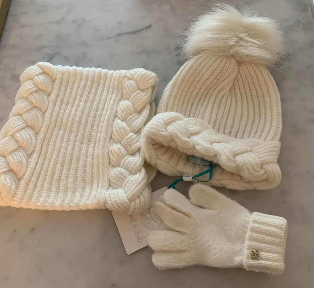 Hat, Scarf, and Glove Set-Cream