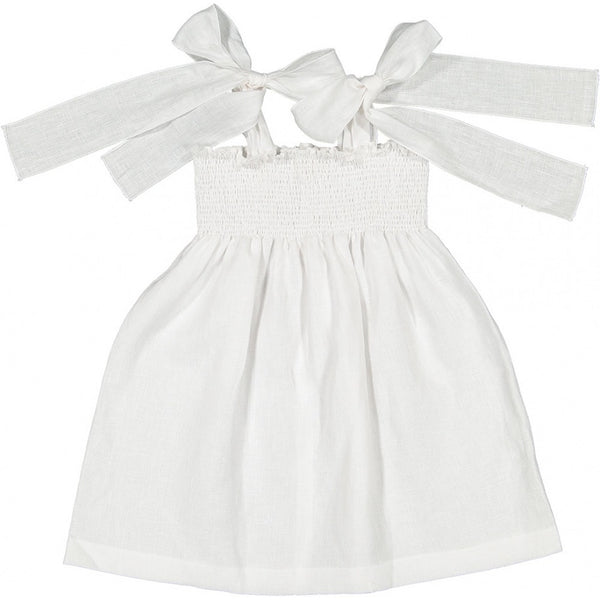 Jasmine white linen Bow Dress