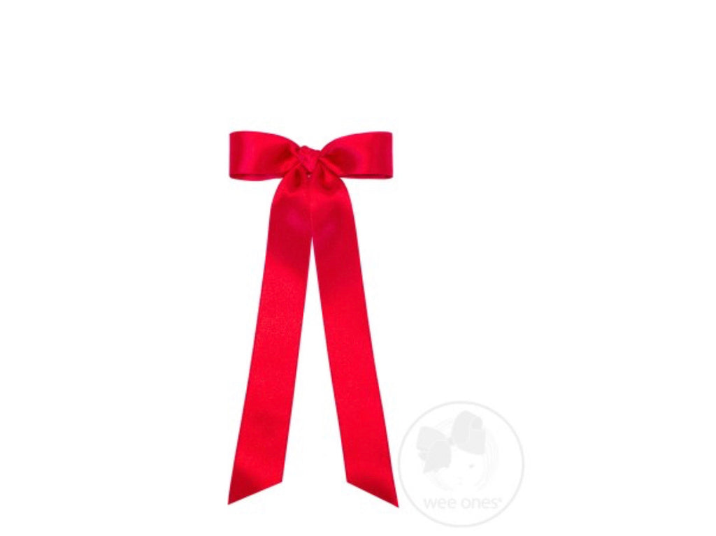 Medium French Satin Streamer Bow-Red