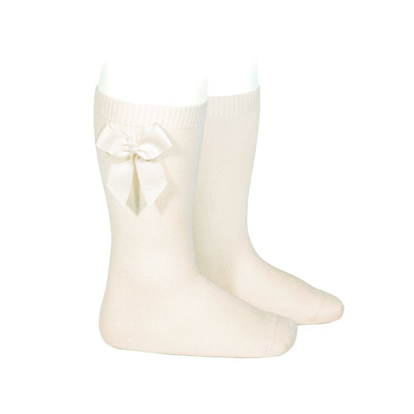 Knee Socks with Grosgrain Bow-Beige