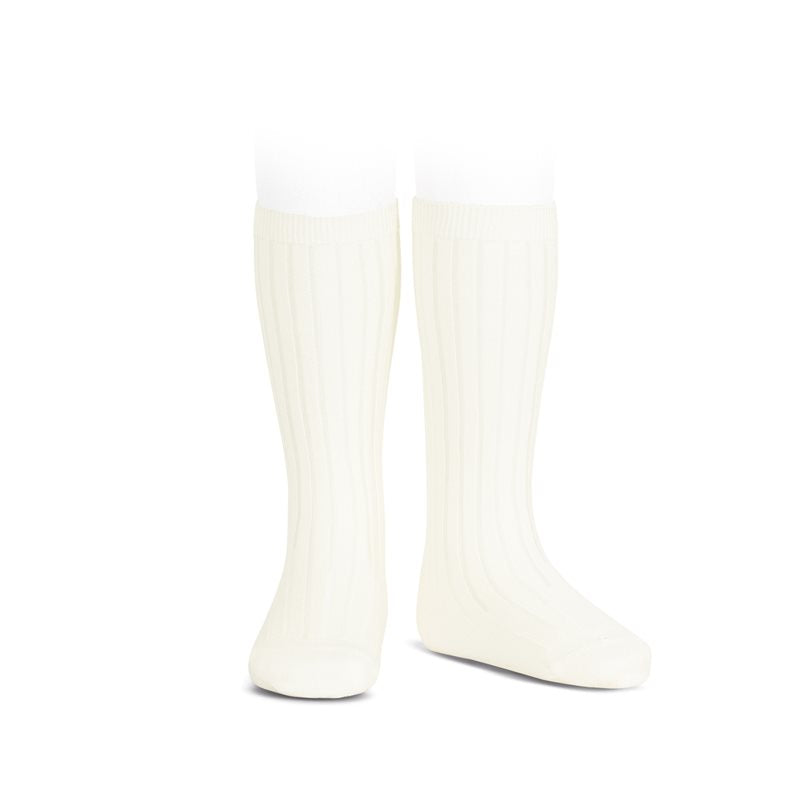 Wide Ribbed Cotton Knee Highs-Beige