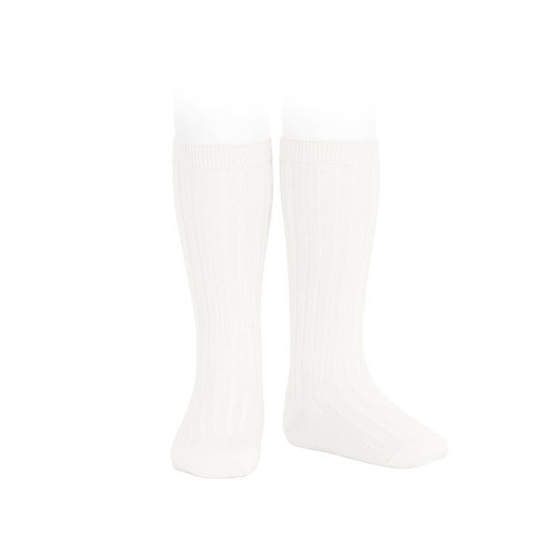 Wide Ribbed Cotton Knee Highs-Cream