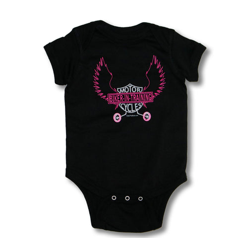 Biker-in-Training (pink print) - Baby onesie
