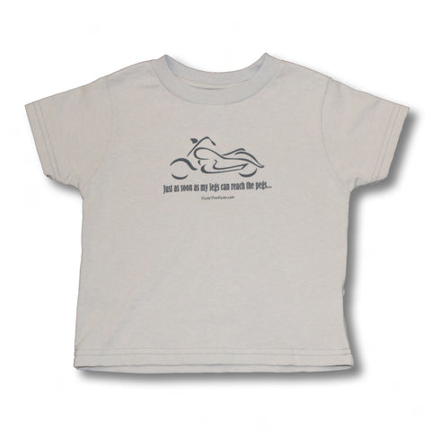 Just as soon as my legs can reach the pegs (gray print) - Toddler T-Shirt.