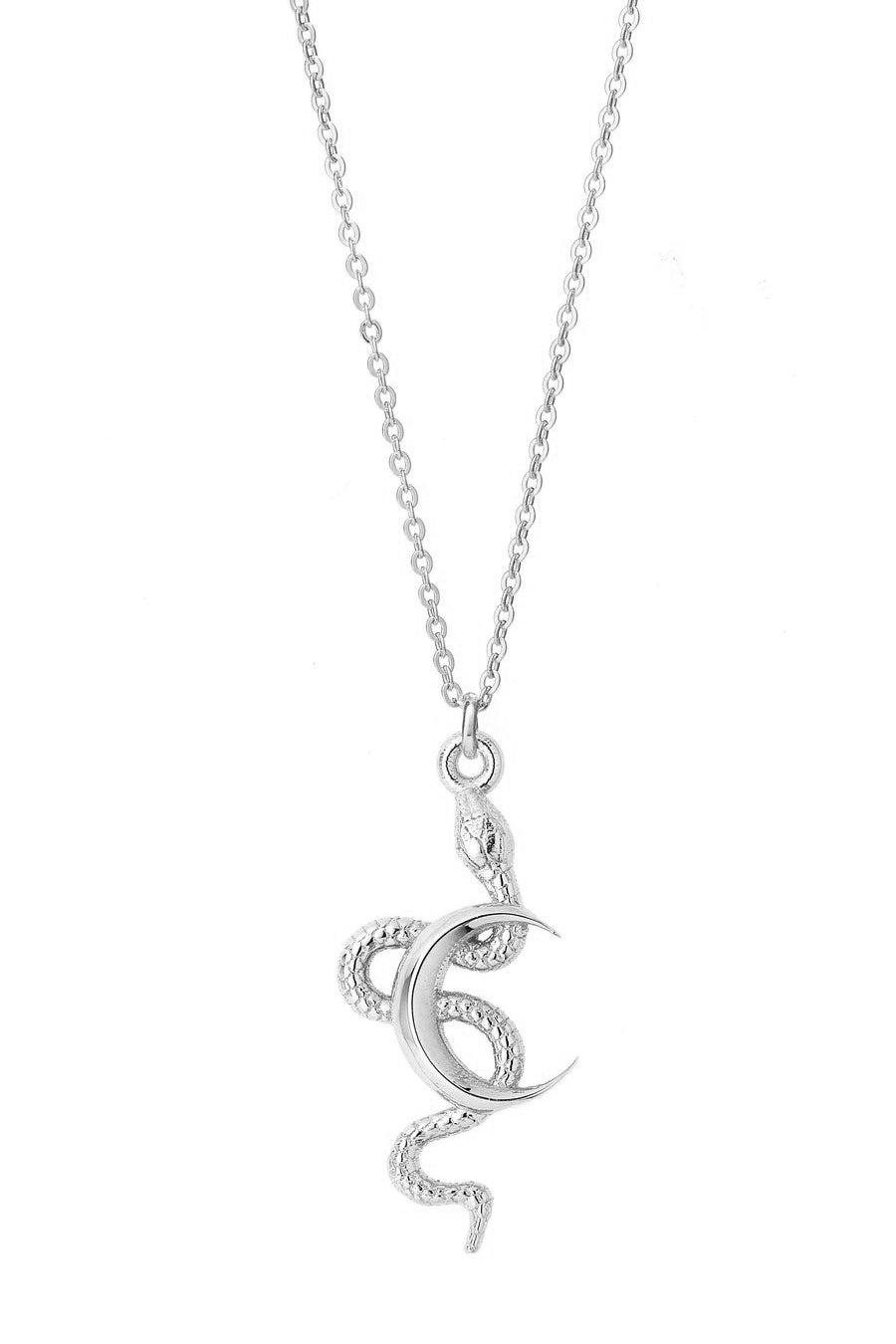 Snake Moon Necklace in Sterling Silver