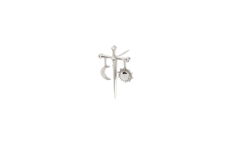 Sun & Moon Balance Stud in Sterling Silver