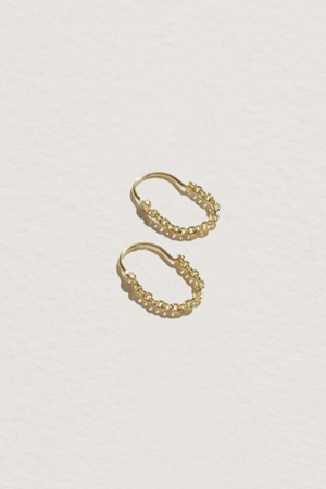 Suspension Hoops in Gold & White Topaz