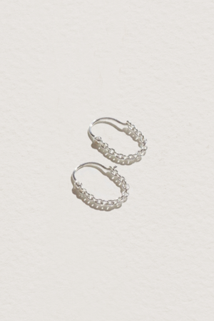Suspension Hoops in Sterling Silver & White Topaz